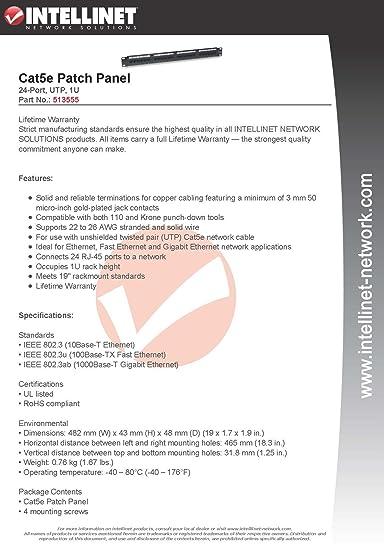 Amazon.com: Intellinet Cat5e UTP 24-Port Patch Panel, 1U: Computers on 110 keystone wiring diagram, 110 phone wiring diagram, 110 switch wiring diagram, 110 outlet wiring diagram, 110 plug wiring diagram,