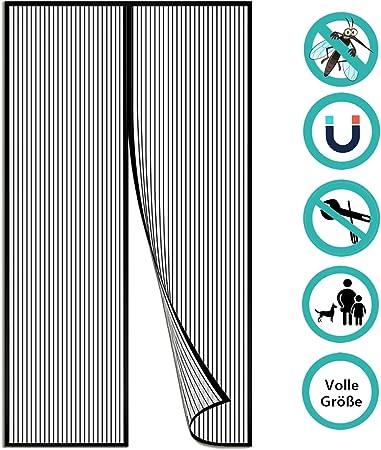 GUOGAI Moustiquaire sur Mesure Aimant/éE Porte Moustiquaire Rideau Anti Mouche Anti Insecte Mouche Moustique pour Couloirs 90x200cm Noir 35x79inch Portes