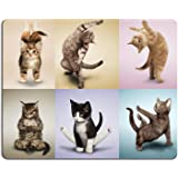 Wknoon Gaming Mouse Pad Custom Design,Yoga Cats Cute kitty,Non-slip Thick Rubber Large Mousepad Mat