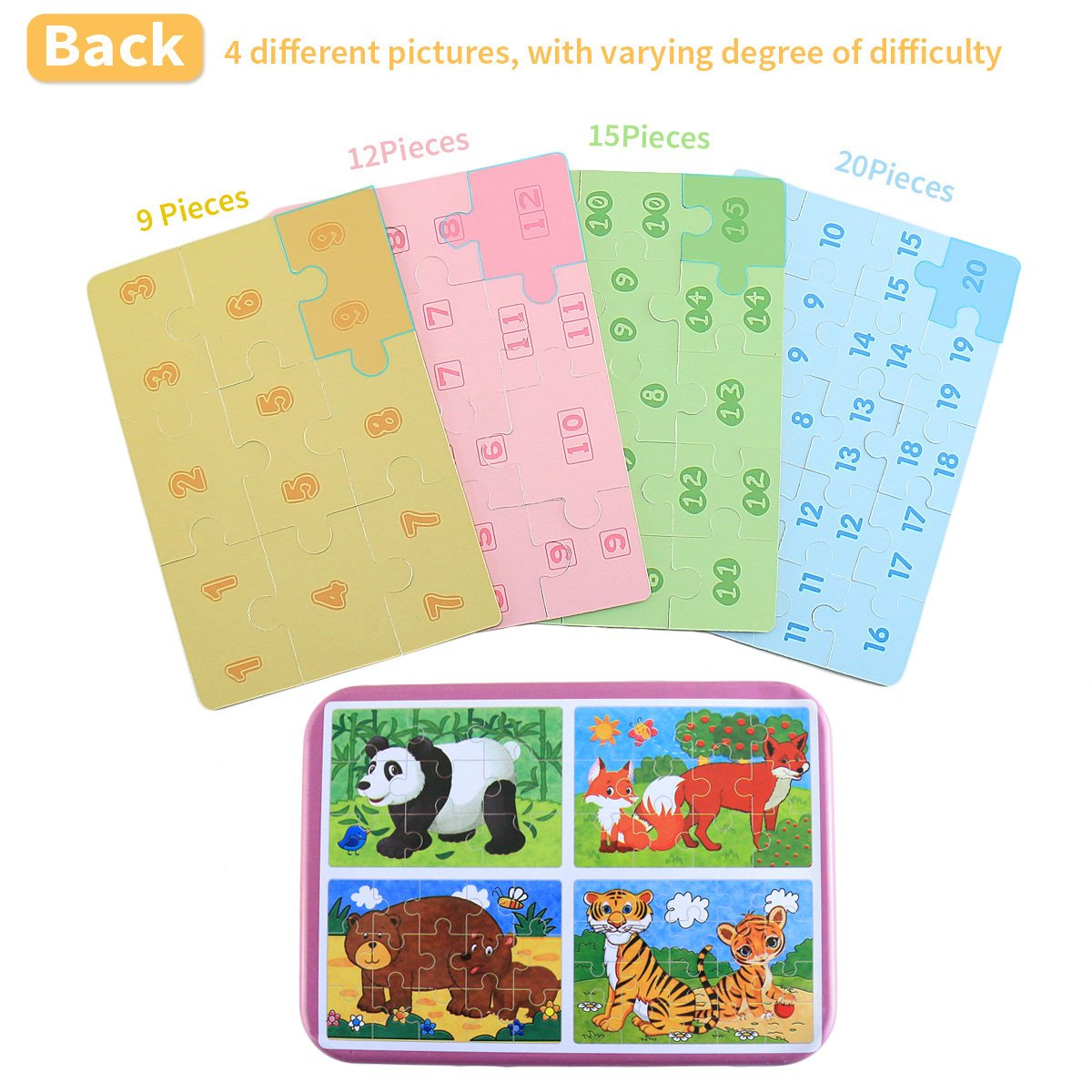4 Pezzi Giochi Legno Bambini con Confezione in Scatola di Ferro BBLIKE Puzzle Legno F Animali Foresta
