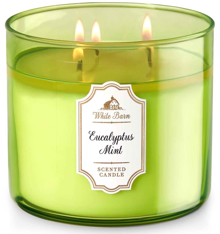 "Bath & Body Works White Barn 3-Wick Candle in Eucalyptus Mint - Fresh eucalyptus, sweet spearmint, lemon peel, clary sage 14.5 ounce 4"" wide x 3 1/2"" tall. - living-room-decor, living-room, candles - 71vxcYIIfuL -"
