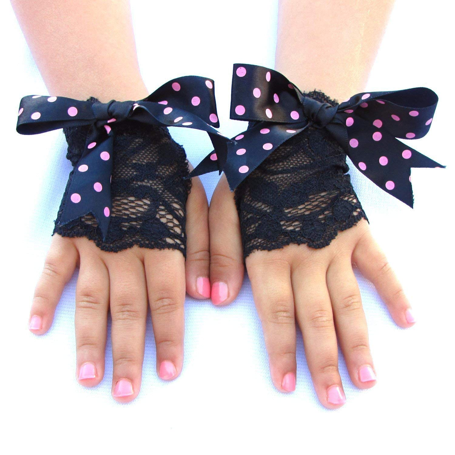Toddler Girls Black Lace Fingerless Gloves with Big Bows
