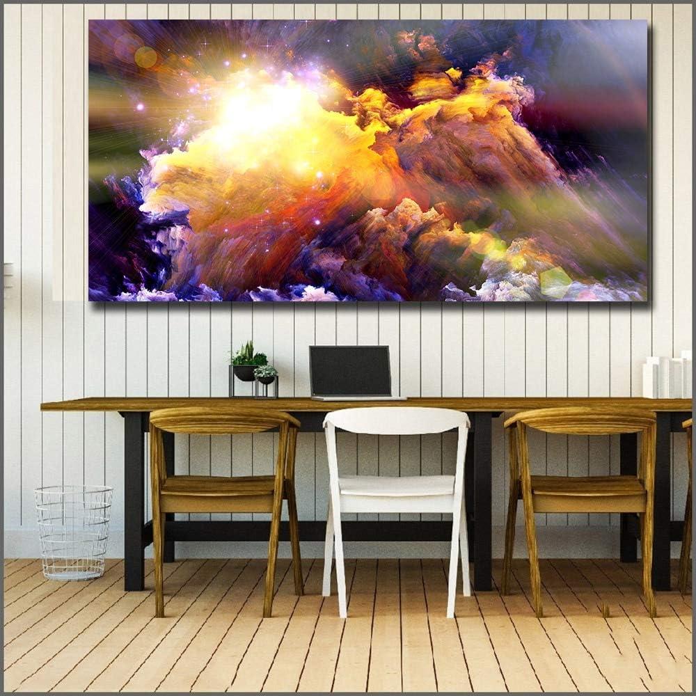 YuanMinglu Impresión Abstracta de Gran tamaño Resplandor Nube de Humo Arte de la Pared Sala de Estar Moderna impresión en Lienzo Pintura sin Marco 30x60cm
