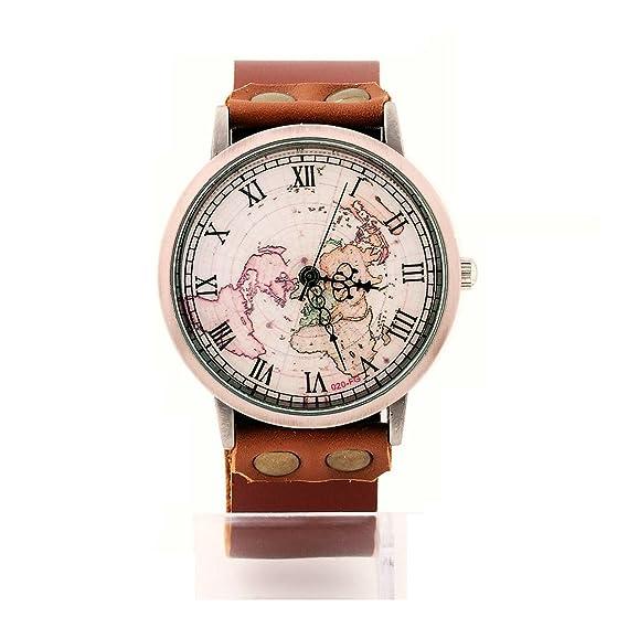 43514b28fbe atongham Casual Vintage hecha a mano Genuine correa de piel Sport para  hombre relojes mapa del mundo reloj de pulsera de cuarzo para las mujeres   Amazon.es  ...