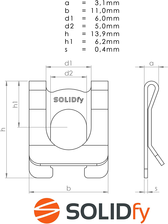 SL-Sicherungen /Ø 16mm Wellensicherung f/ür Wellen und Bolzen verzinkte SL Sicherung SOLIDfy/® 10x