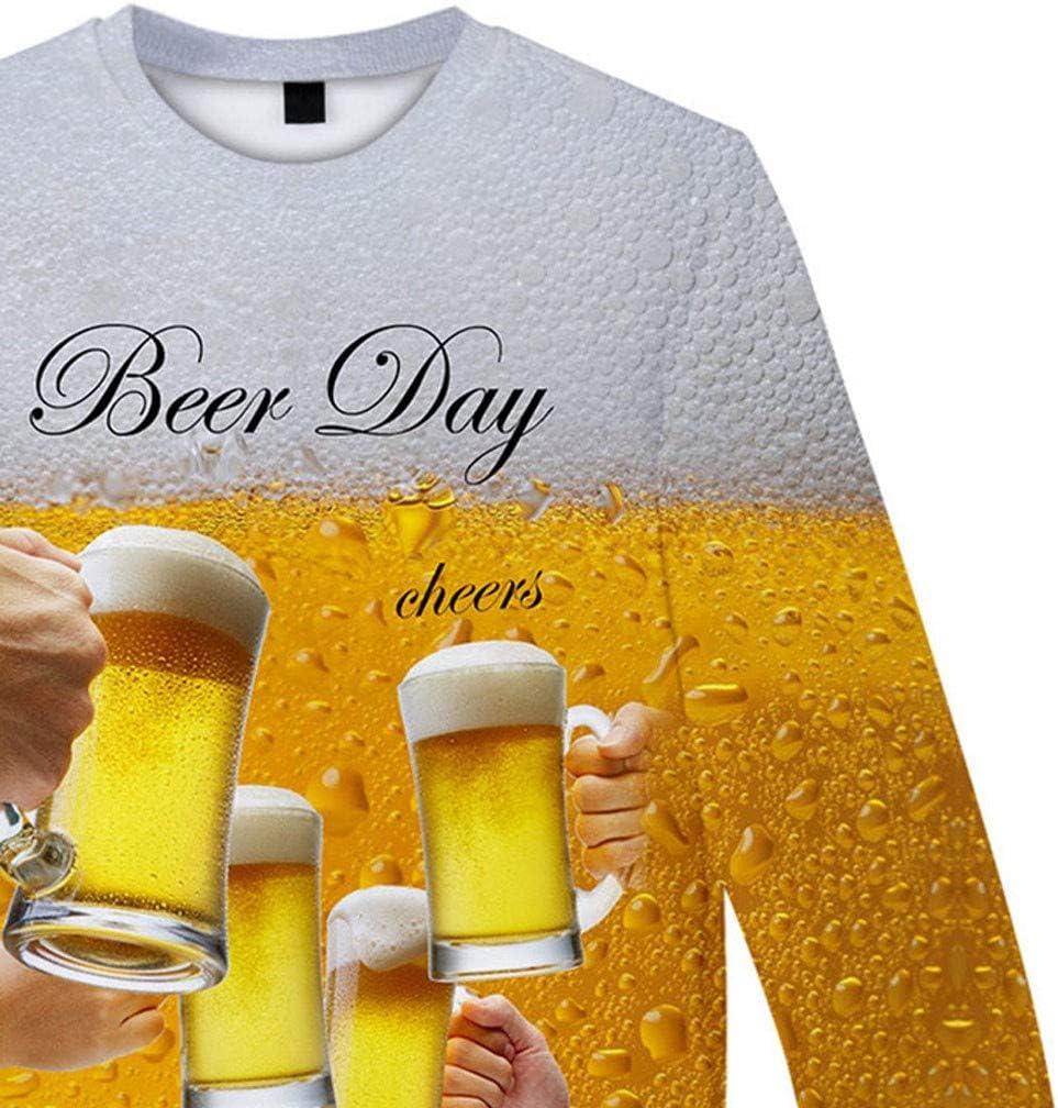 Camiseta de Manga Larga para Hombre, Moda Manga Larga Camisa Cerveza Festival 3D impresión o Camisa Cuello Camiseta Hip Hop Hombre Ropa: Amazon.es: Zapatos y complementos