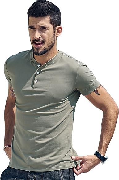 Amazon.com: Men Casual Henley T Shirt Sexy V Neck Cotton Short Sleeve Tops:  Clothing