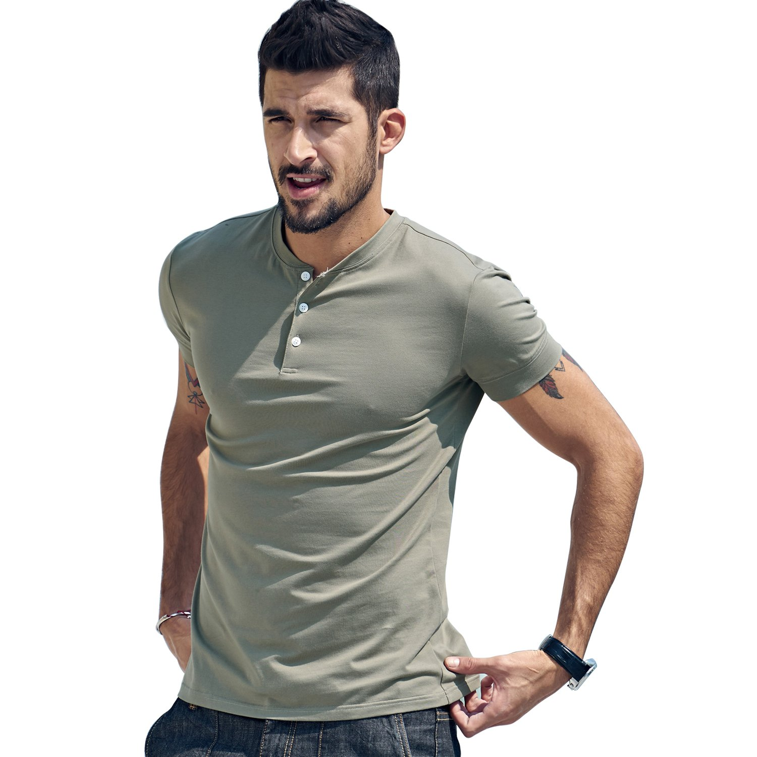 Men Casual T Shirt V Neck Short Sleeve Cotton Button Stylish Loose Slim Fit Sport Workout Outdoor Wear Gym Beach Party Hiking Travel Business Working Weekend Henley Shirts High Elasticity(XLArmGreen) by VAVE