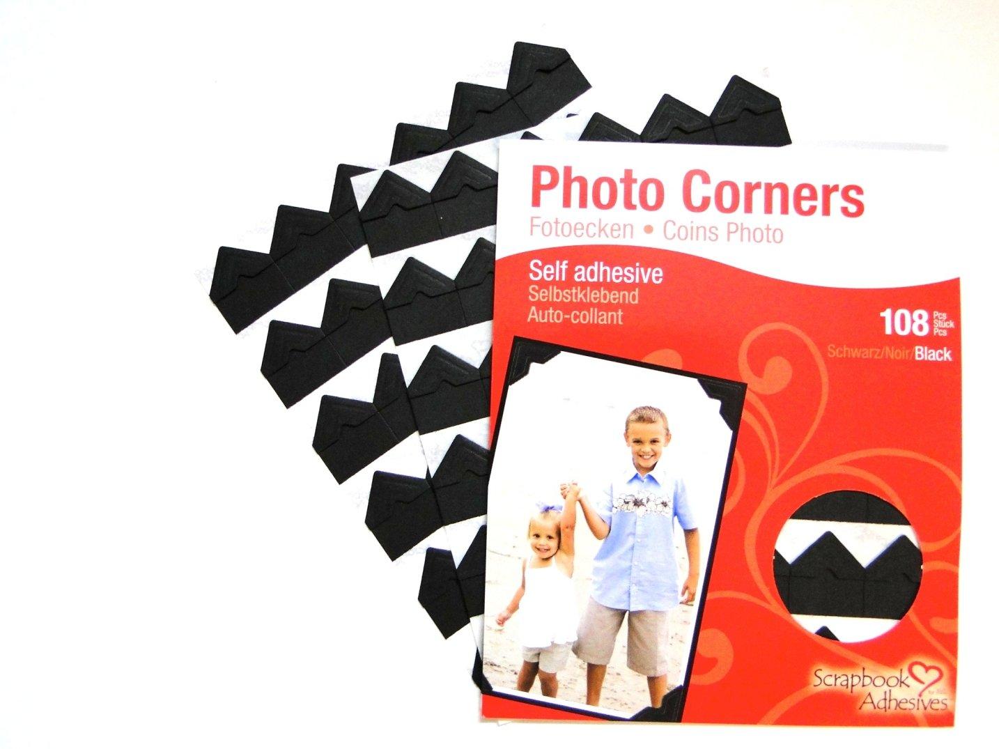 Black Colour Photo Corners Self Adhesive Sticky Acid Free Album Scrapbook Frame (108 Corners) Scrapbook Adhesives