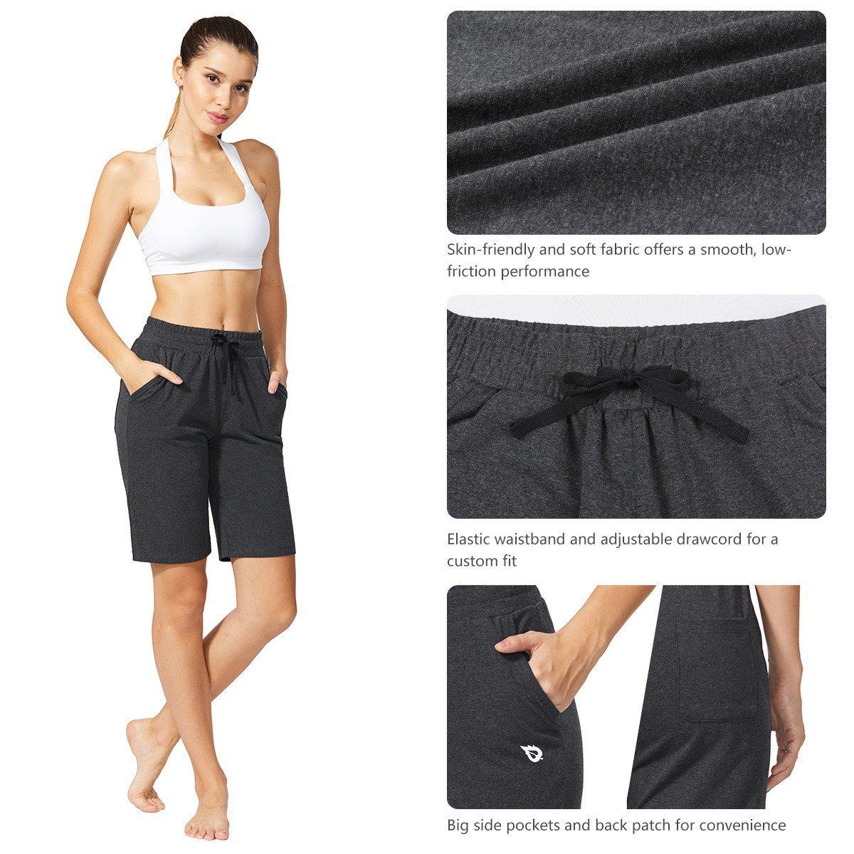 Baleaf Women's Active Yoga Lounge Bermuda Shorts with Pockets Charcoal Size L by Baleaf (Image #4)