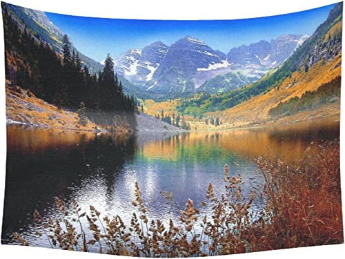 INTERESTPRINT Landscape Nature Scenery Wall Art Home Decor, Mountain Lake Maroon Near Aspen Colorado Tapestry Wall Hanging Art Sets 80 X 60 Inches