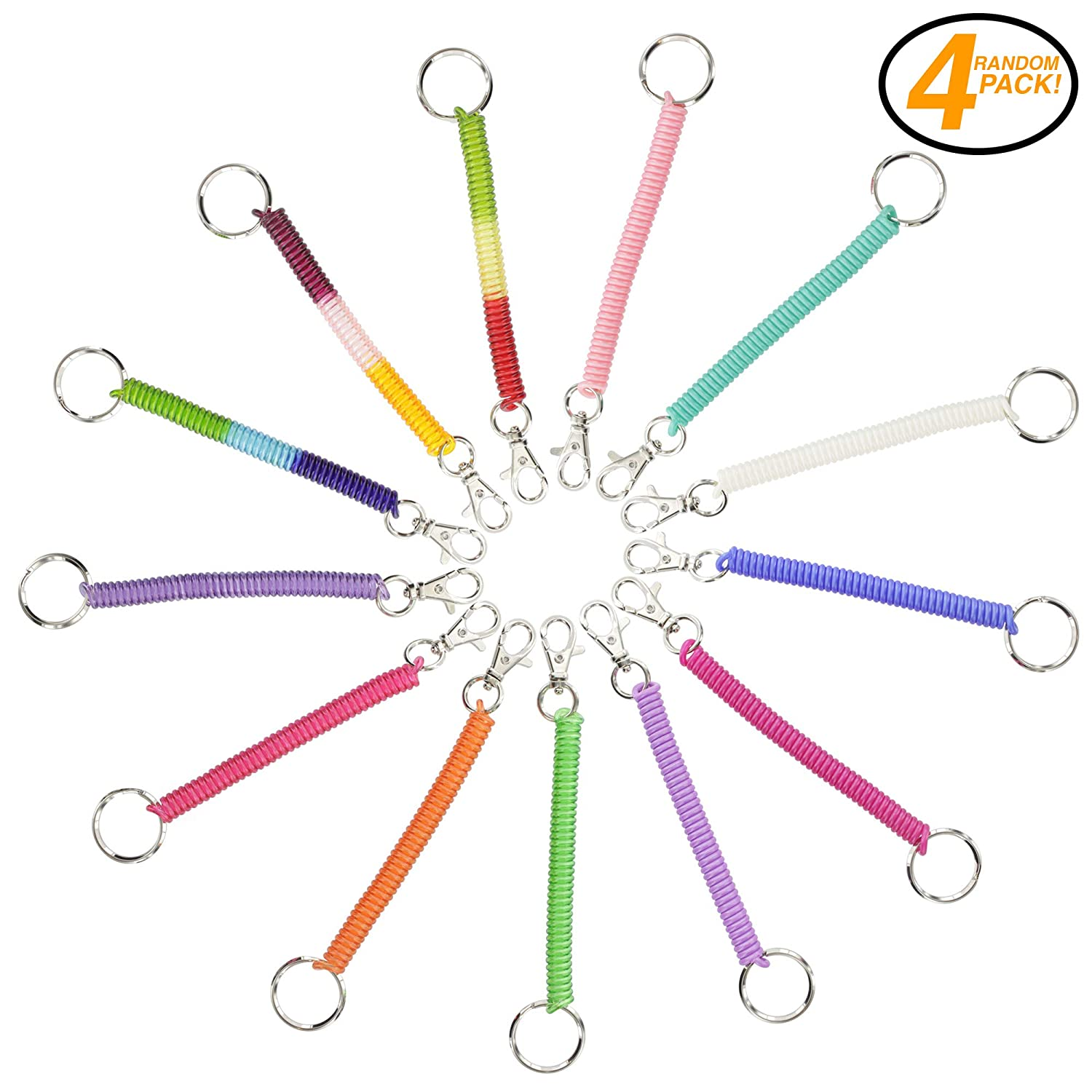 Spiral String Key Chain Keyring Coil Stretch Keychain Hook Retractable Plastic Portachiavi Bambini 2 - 16 anni