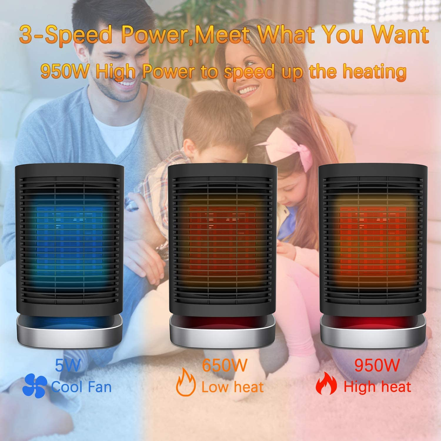 AILUKI Portable Space Heater 950W with