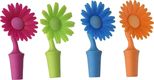 Flower Bottle Stoppers 4 Pack for Wine Beer Soda Silicone Cork