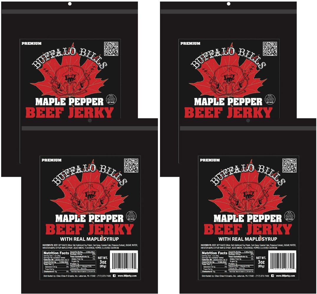 Amazon.com: Buffalo Bills 3oz Premium Maple Pepper Beef Jerky 4-Pack (beef jerky made with real maple syrup)