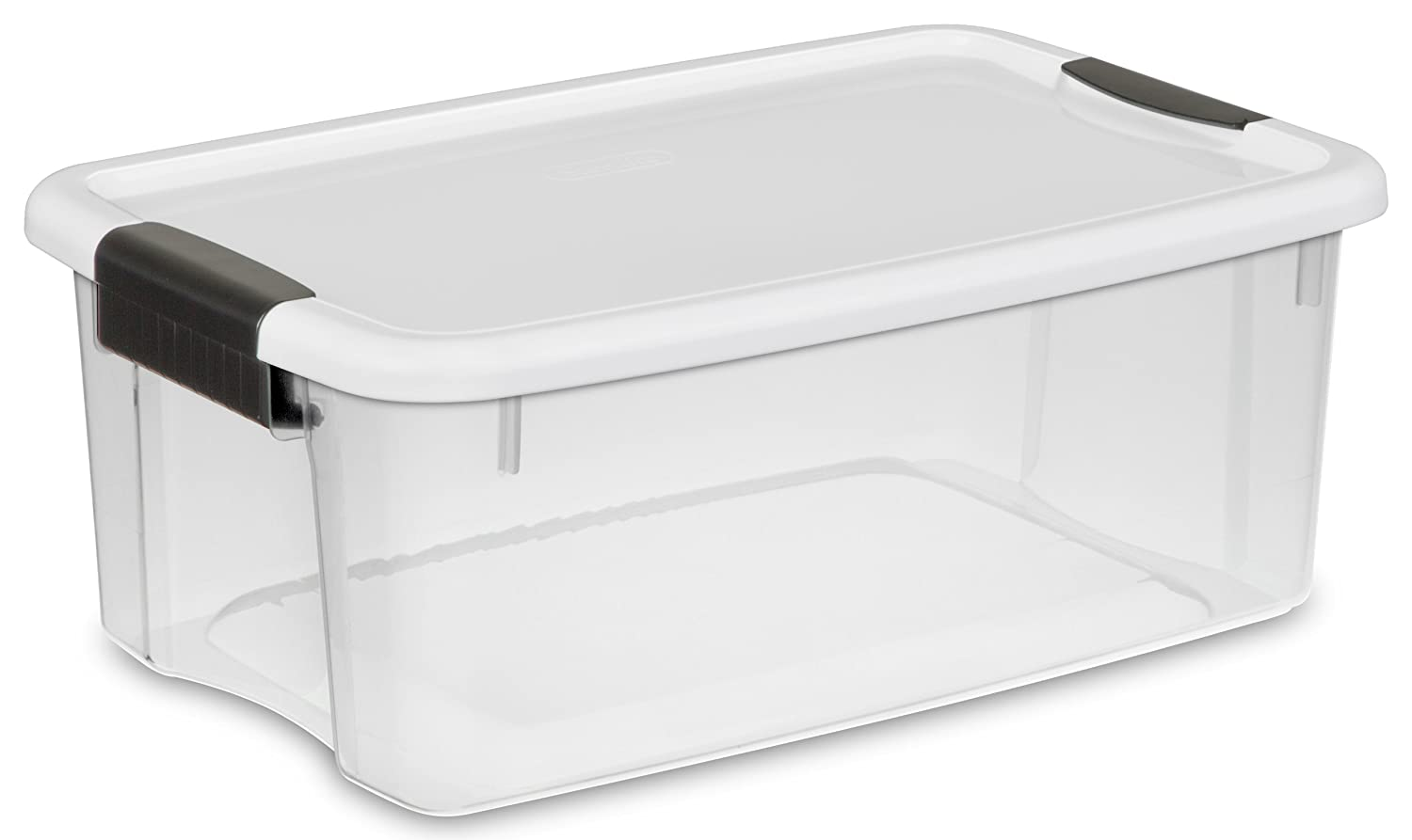Amazon.com   STERILITE 19849806 18 Quart/17 Liter Ultra Latch Box, Clear  With A White Lid And Black Latches, 6 Pack   Lidded Home Storage Bins