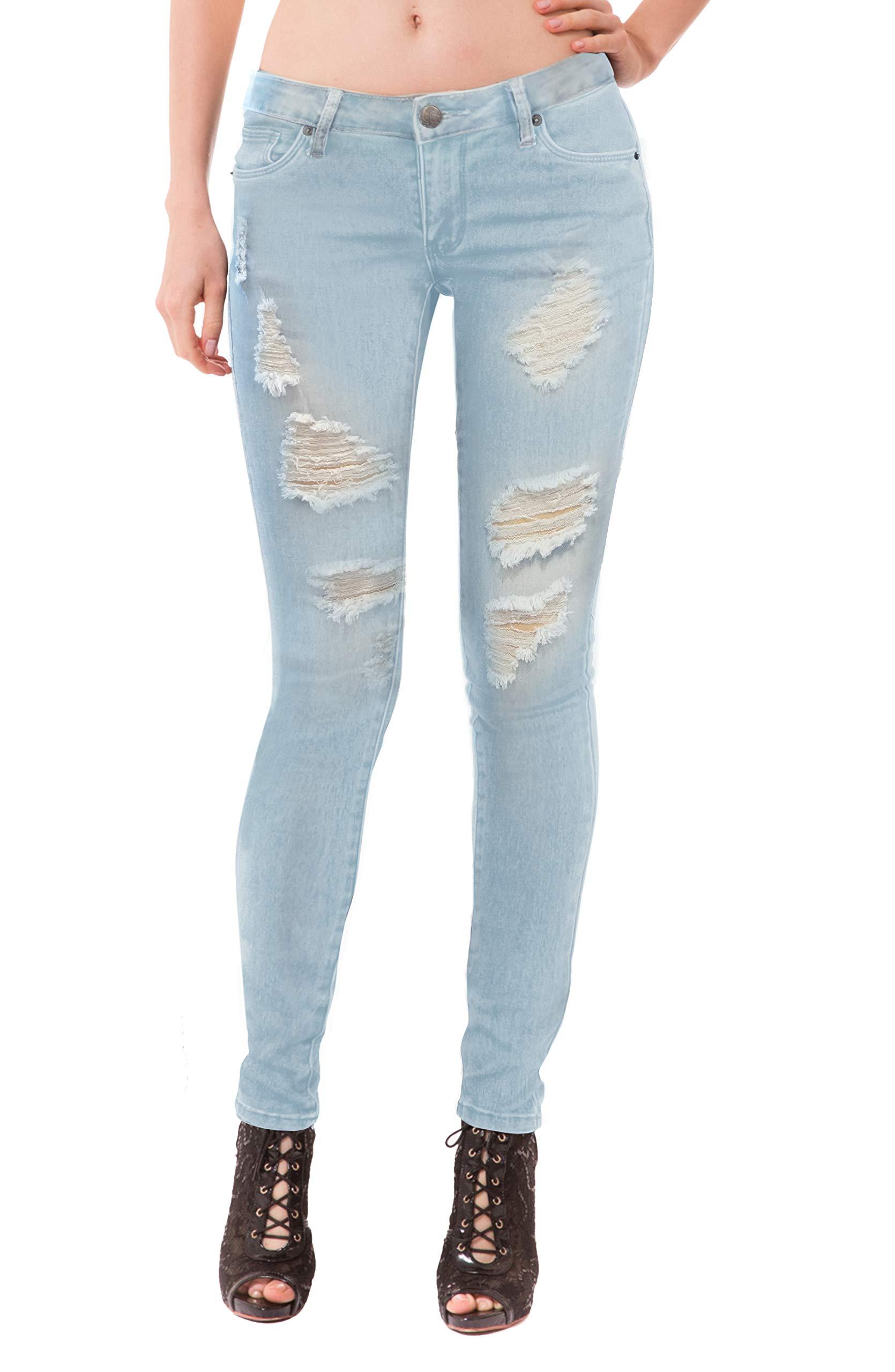 HyBrid & Company Women's Super Comfy Stretch Lace Bottom Skinny Jeans P37352SK Light WASH 15