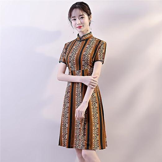 af2c5875c76a6 Amazon.com: Shanghai Story Knee Length Qipao Women's Chinese Style Dress  Cheongsam: Clothing
