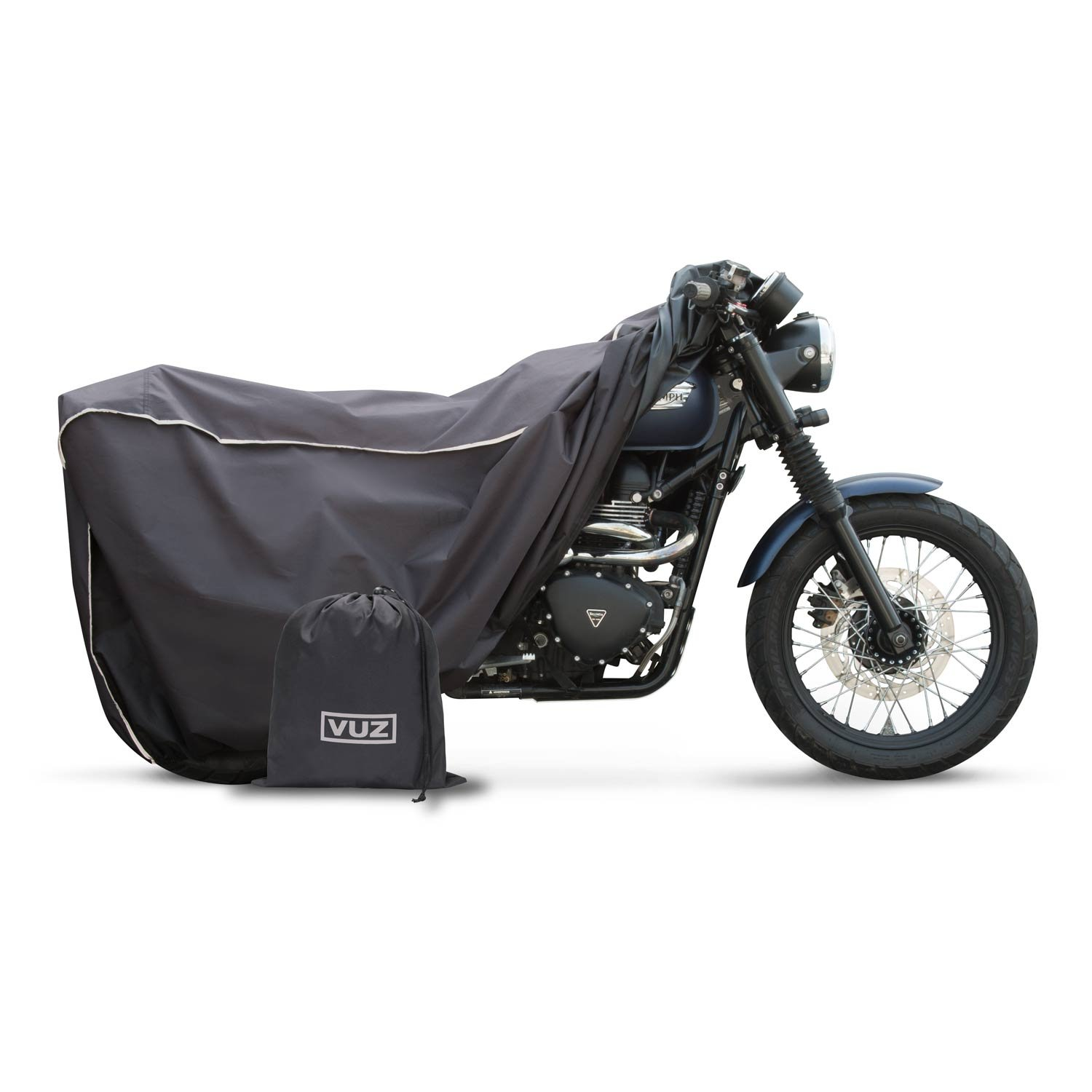 VUZ Moto Waterproof Motorcycle Covers | Premium Heavy Duty Polyester | All Weather Conditions for Adventure, Cruisers, and Classic Bikes | Medium, Black
