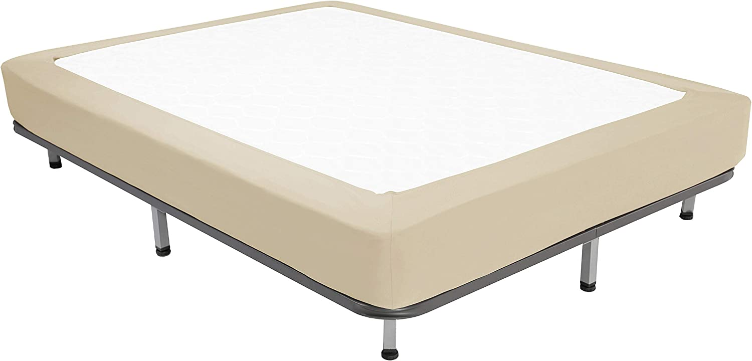 Box Spring Cover Queen Size - Jersey Knit & Stretchy Wrap Around 4 Sides Bed Skirt for Hotel & Home - Queen/Cal Queen, Taupe