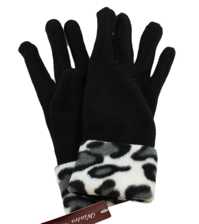 Black gloves with leopard trim - Amazon Com Black Snow Leopard Print Fleece Gloves Sports Outdoors
