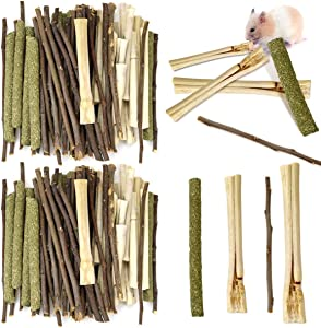 BILLIOTEAM 600g 3 Types of Combined Chew Toys Timothy Grass Molar Sticks Sweet Bamboo Apple Branch,Natural Pet Chew Treats Snacks for Small Animal Rabbit Chinchilla Guinea Pig Squirrel Bunny Hamster