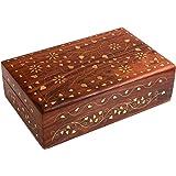 india bigshop Regalo di giorno del padre Artigianali in legno indiano Jewelry Box Brass Inlay fiore unico e Colore foglia d'oro di design 6 x 4 pollici