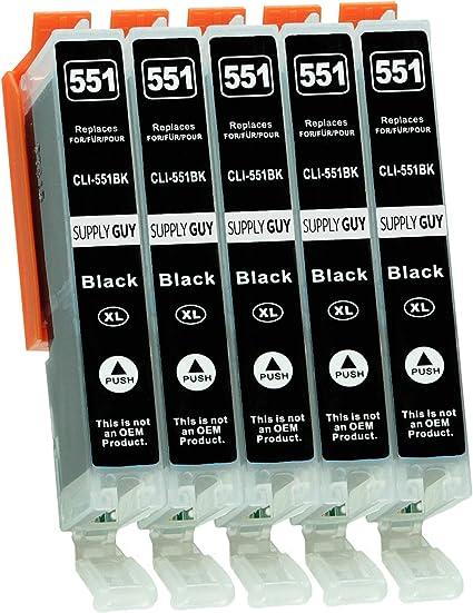 Imagen de5 Cartuchos de Tinta con viruta Compatible con Canon CLI-551 Negro Photo para Canon Pixma IP-7250 IP-8750 IX-6850 MG-5450 MG-5550 MG-5650 MG-5655 MG-6350 MG-6450 MG-6650 MG-7150 MG-7550 MX-725 MX-925