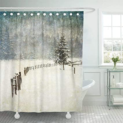 Emvency Waterproof Fabric Shower Curtain Hooks Blue Christmas Vintage Winter Scene Colorful Star Abstract Bright Extra