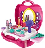 ZZ ZONEX Beauty Make up Case and Cosmetic Set Suitcase, Durable Kit Hair Salon with 21 Pcs Makeup Accessories for Children Girls