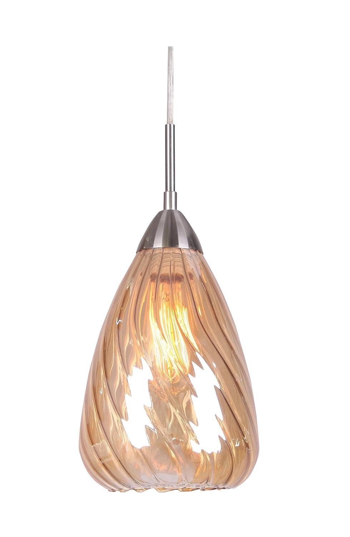 Satin Nickel//Plated Amber Woodbridge Lighting 13226STN-C20733 1 Light Soak Mini Pendant