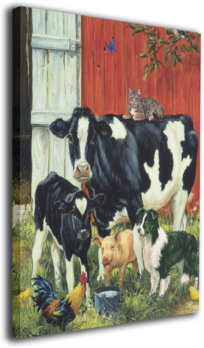 """Paintings Country Living Farm Animals Cow Pig Barn Rooster Dog Cat Calf Art Farmhouse Pictures Canvas Wall Art Print Modern Decorative Artwork for Living Room Home Decor Framed Ready to Hang 16"""" X 20"""""""