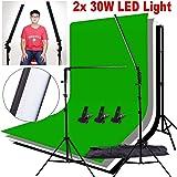 "Abeststudio Photo Studio Lighting Kit 2x 32"" LED 60PCS 5500K Dimmable (1% to 100%) Adjustable Softbox Studio Light + 2m x 2m Adjustable Backdrop Support Stand + 1.6 x 3m Black/White/Green/Gray Backdrop Screen"
