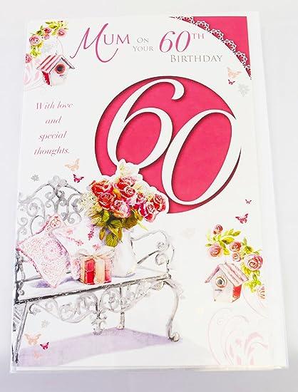 Happy 60th tarjeta de cumpleaños para madre rosa elegante ...