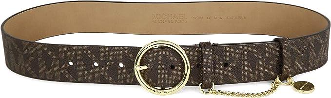 : Michael Kors Womens MK Monogram Gold Buckle And