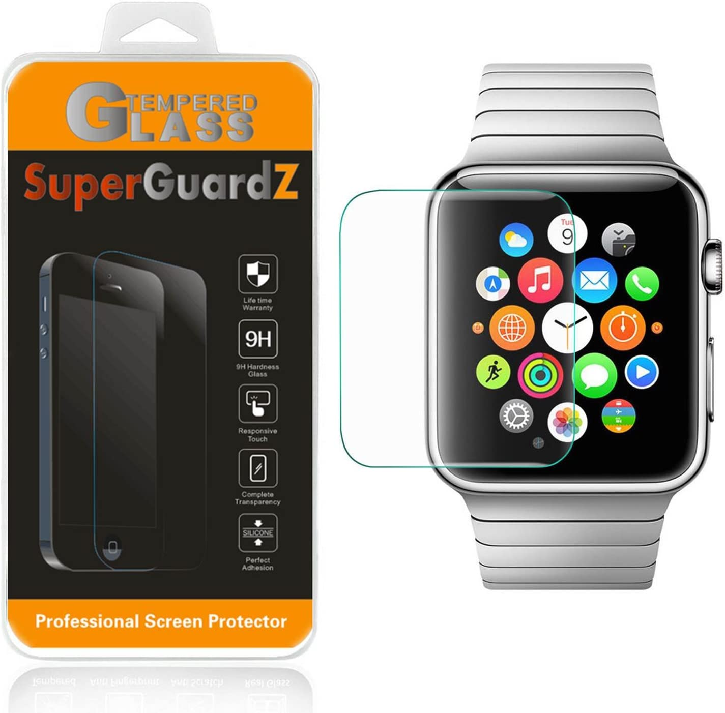 [2-Pack] For Apple Watch 38 mm (1st Generation) - SuperGuardZ Tempered Glass Screen Protector, 9H, 0.3mm, 2.5D Round Edge, Anti-Scratch, Anti-Bubble, Shatterproof