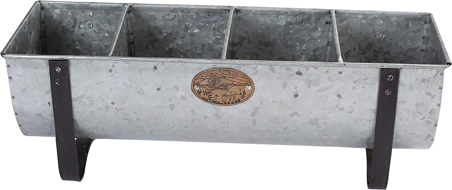 Galvanized Farmhouse Decor Tray with Handles |Big Spoon raster, Caddy Organizer for Kitchen, Garden and Garage Tools | Outdoor, Rustic, Home Decor |Galvanized Tray and Storage with 3 Compartments