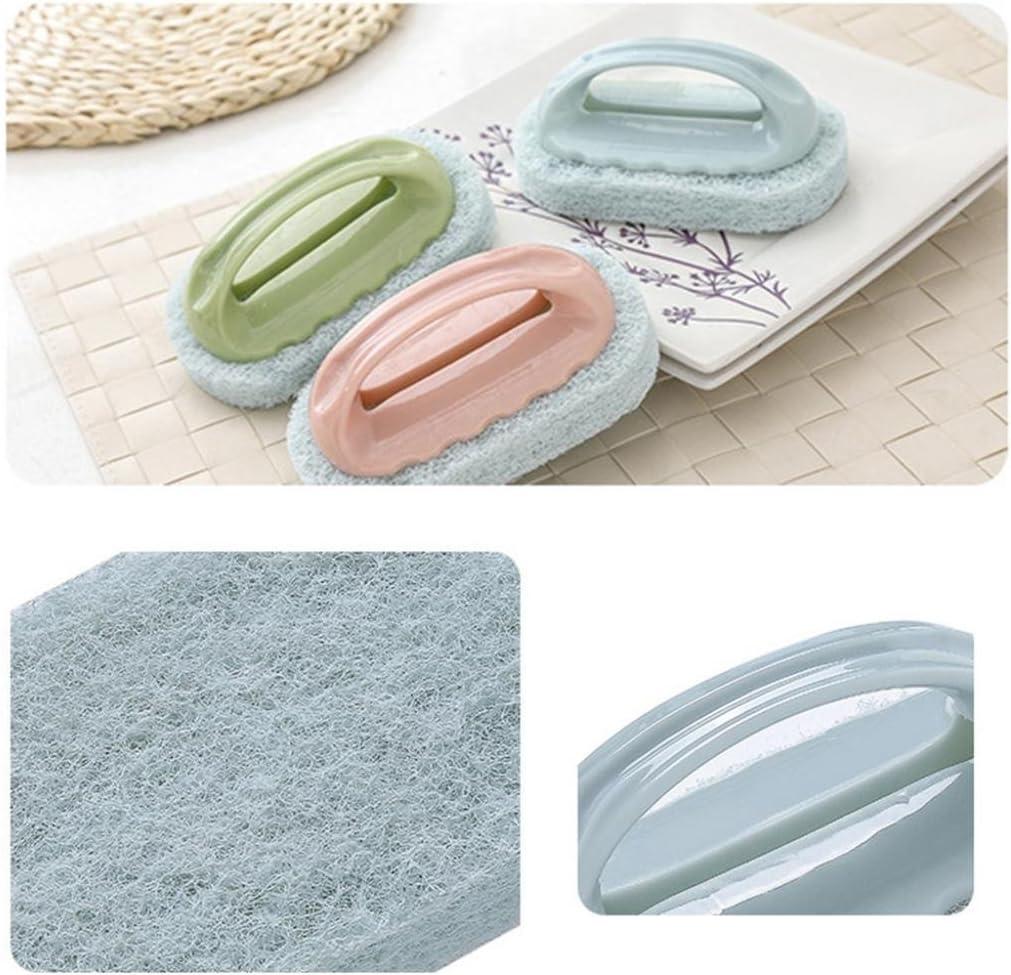 Hearsbeauty Brosse /éponge de nettoyage avec manche en plastique pour salle de bain Green