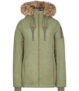 083e19cbfc2a Urban Surface Damenjacke Winter Übergangsjacke mit Teddyfell und Kapuze S-XL