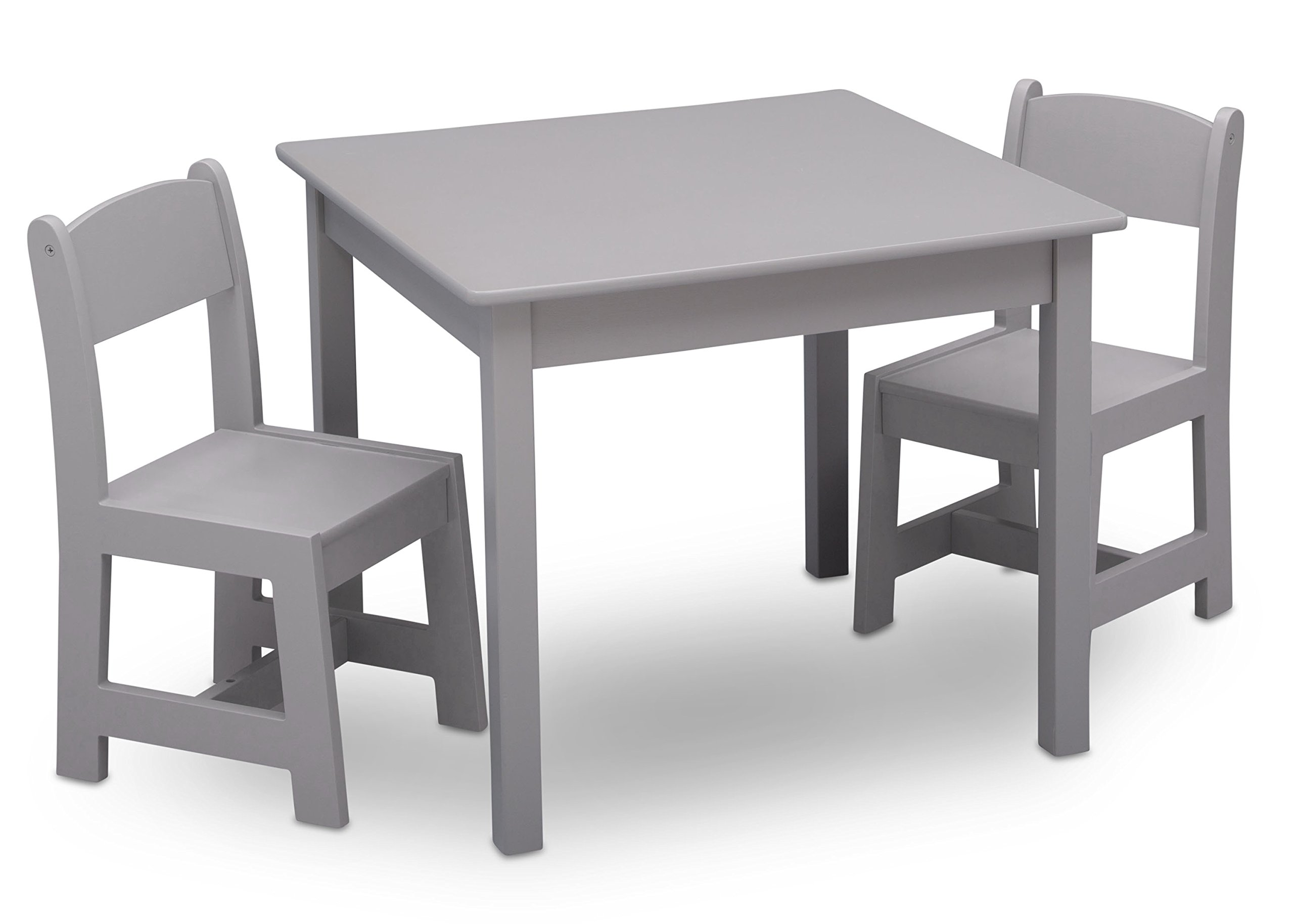 Delta Children MySize Kids Wood Chair Set and Table (2 Chairs Included), Grey by Delta Children