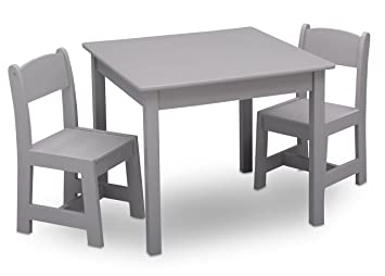 Fabulous Delta Children Mysize Kids Wood Chair Set And Table 2 Chairs Included Grey Alphanode Cool Chair Designs And Ideas Alphanodeonline
