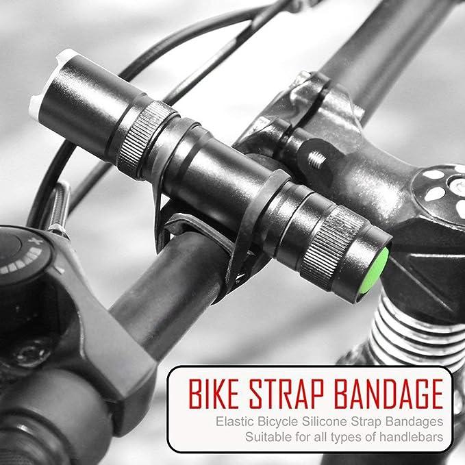 MTB Bicicleta de la Bici de Silicona el/ástico Extended Vendaje de la Correa de la Linterna Titular de Montaje para Manillar
