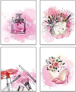 Modern Abstract Pink Graffiti Fashion Makeup Wall Prints Girls Woman Bathroom Spa Wall Bedroom Changing Room Hallway Apartment Art Painting Set of 4 (8