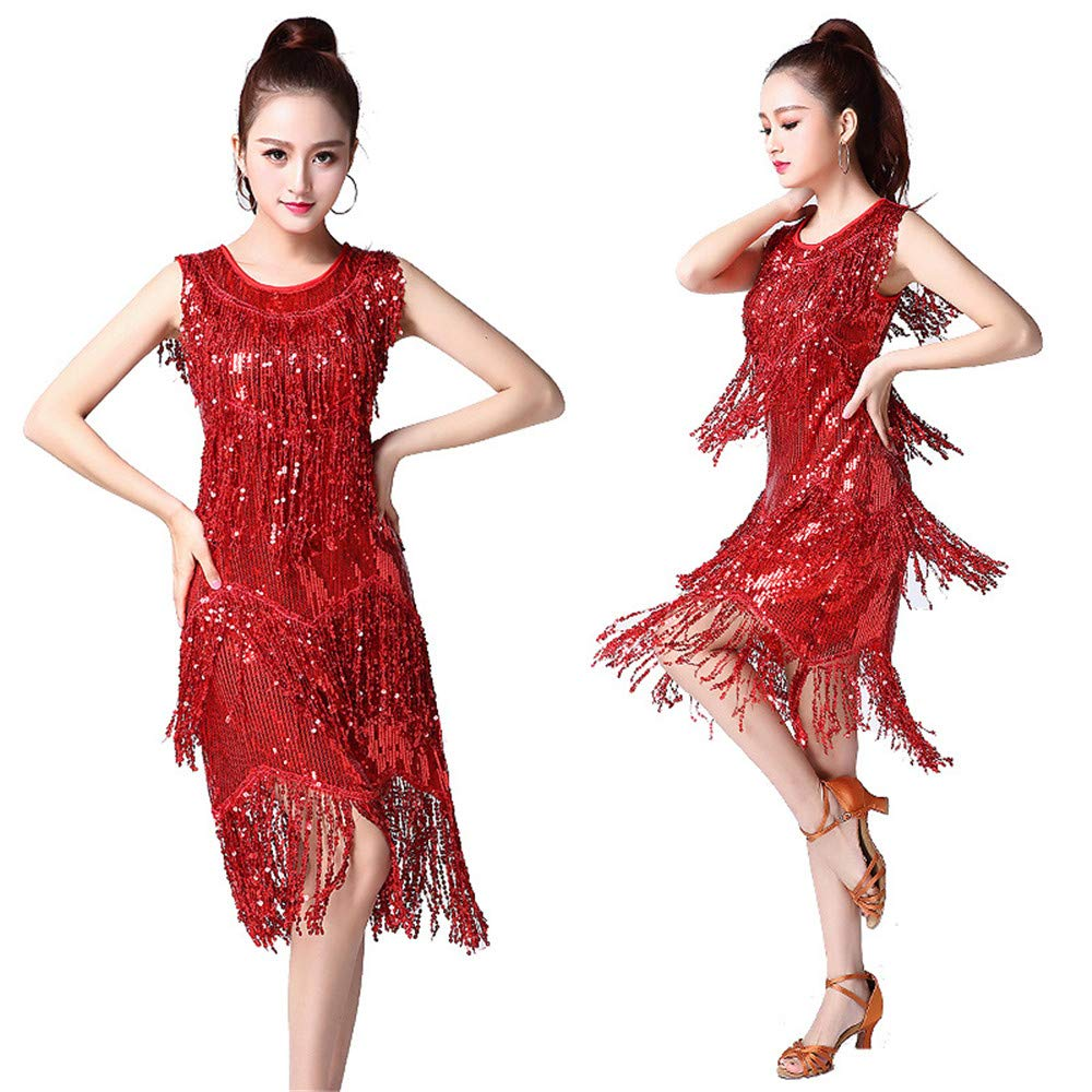 Rouge CVWG Vêtements de Danse Latine de Femmes for la Salle de Bal Salsa Samba Tango Concours de Robes de Danse Latine Costumes Swing Robe Rumba L