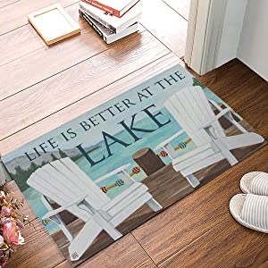 Entrance Door Mat, Funny Qoutes Low Profile Decor Doormat, Life is Better at The Lake Non-Slip Carpet Rugs with Felt Decorative for Home/Indoor/Outdoor - 18