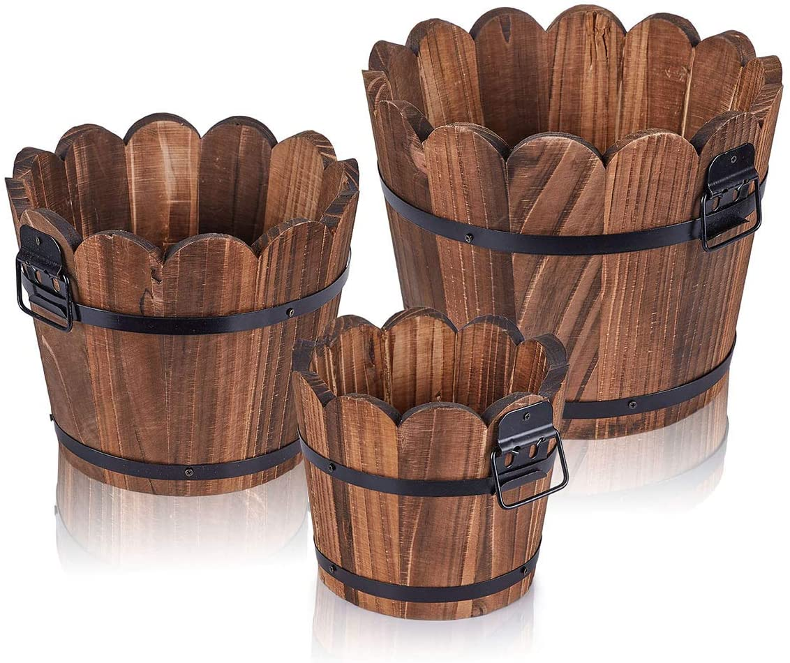 HakkaGirl Wooden Bucket Barrel Planters, Rustic Patio Planters Flower Pots for Plants Indoor Décor, Set of 3