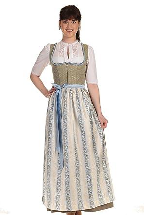 343506f11c Turi Landhaus Damen Dirndl Lang Festliches Dirndl Kleid Tracht D811037 Lara  95cm Schilf Gr. 34