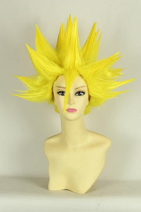 Corto amarilla recta pelo rizado peluca tailcosplay amarillas peluca de pelo corto peluca cosplay cosplay pelucas