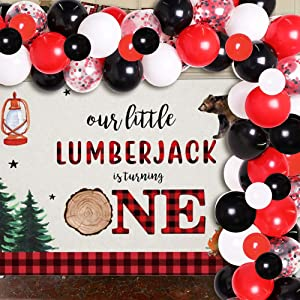 Lumberjack Theme Balloon Garland Arch kit Wild One Photo Background Party Supplies Buffalo Plaid Decor for First Birthday, Baby Shower