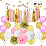 89 pcs Gold Pink Party Decorations Kit SIMPZIA Party Supplies Including Paper Pom Poms Flowers & Tissue Tassel Garland & Party Balloons for Birthday Party, Engagement, Wedding, Baby showe